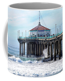 Coffee Mug featuring the photograph Windy Manhattan Pier by Michael Hope