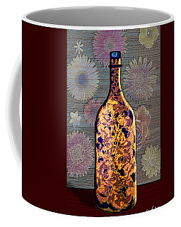 Coffee Mug featuring the digital art Wine Bottle And Floral Wall by Iowan Stone-Flowers