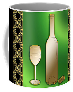Coffee Mug featuring the digital art Wine Bottle And Glass - Chuck Staley by Chuck Staley