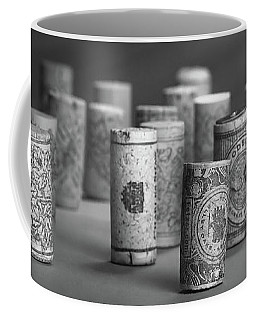 Wine Cork Panorama In Black And White Coffee Mug by Tom Mc Nemar