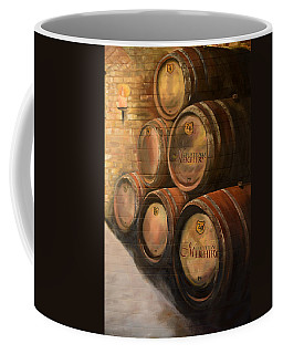 Coffee Mug featuring the painting Wine In The Barrels - Chateau Meichtry by Jan Dappen