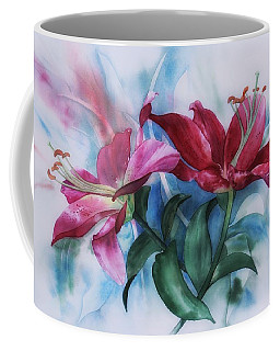 Wine Lillies In Pastel Watercolour Coffee Mug
