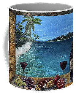 Coffee Mug featuring the painting Wine Thirty - Oceanside by Jan Dappen