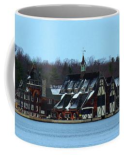 Snow On Boldt Castle Yacht House Coffee Mug