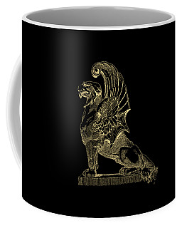 Coffee Mug featuring the digital art Winged Chimera From Theater De Bellecour, Lyon, France, In Gold On Black by Serge Averbukh