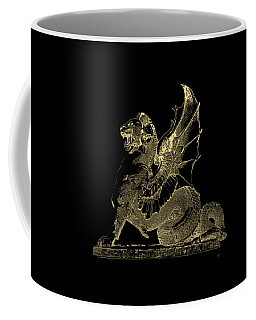 Coffee Mug featuring the digital art Winged Dragon Chimera From Fontaine Saint-michel, Paris In Gold On Black by Serge Averbukh