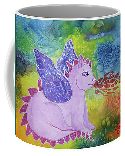 Coffee Mug featuring the painting Winged Dragon by Ellen Levinson