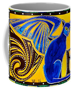Winged Feline - Cat Art With Letter P By Dora Hathazi Mendes Coffee Mug