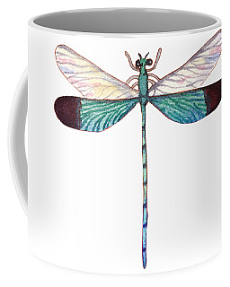Coffee Mug featuring the painting Winged Jewels 1, Watercolor Tropical Dragonfly Aqua Blue Black by Audrey Jeanne Roberts