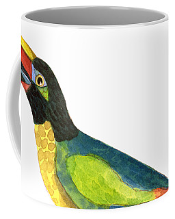 Coffee Mug featuring the painting Winged Jewels 2, Watercolor Toucan Rainforest Birds by Audrey Jeanne Roberts