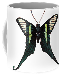 Coffee Mug featuring the painting Winged Jewels 3, Watercolor Tropical Butterfly With Curled Wing Tips by Audrey Jeanne Roberts
