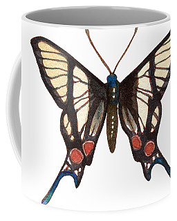 Coffee Mug featuring the painting Winged Jewels 4, Watercolor Tropical Butterflie Black White Red Spots by Audrey Jeanne Roberts