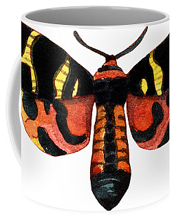 Coffee Mug featuring the painting Winged Jewels 5, Watercolor Moth Black Yellow Orange And Red Tropical by Audrey Jeanne Roberts