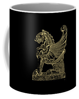 Coffee Mug featuring the digital art Winged Lion Chimera From Casa San Isidora, Santiago, Chile, In Gold On Black by Serge Averbukh