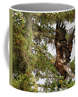 Coffee Mug featuring the photograph Winging-it Up The Tree 1 by Debbie Stahre