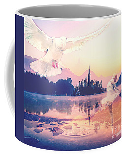 Coffee Mug featuring the mixed media Wings Of Grace by Jessica Eli
