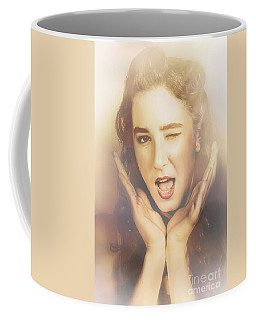 Winking Pinup Woman With Retro Hair And Makeup Coffee Mug