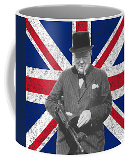 Winston Churchill And His Flag Coffee Mug