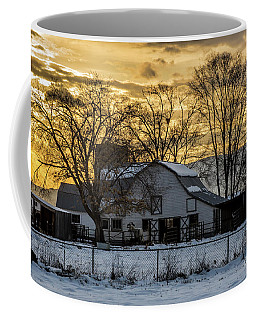 Coffee Mug featuring the photograph Winter Barn At Sunset - Provo - Utah by Gary Whitton