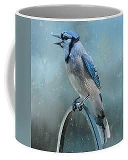 Winter Blue Jay Square Coffee Mug