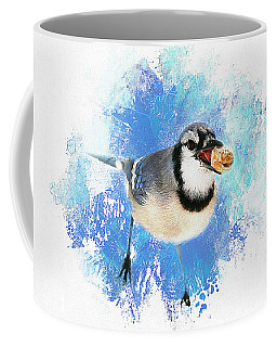 Coffee Mug featuring the photograph Winter Bluejay by Darren Fisher