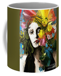 Coffee Mug featuring the mixed media Winter Blues by Carrie Joy Byrnes
