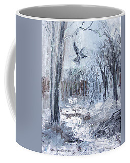 Coffee Mug featuring the painting Winter Caws by Robin Maria Pedrero