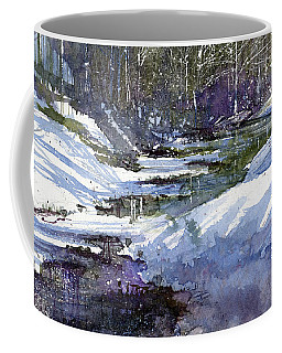 Coffee Mug featuring the painting Winter Creekbed by Andrew King