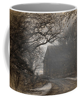 Winter Foggy Countryside Road And Barn Coffee Mug