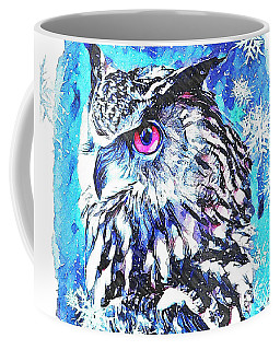 Cute Screech Owl Winter Artwork Coffee Mug