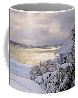 Coffee Mug featuring the photograph   Atlantic Ocean Winter Harbour by Elaine Manley