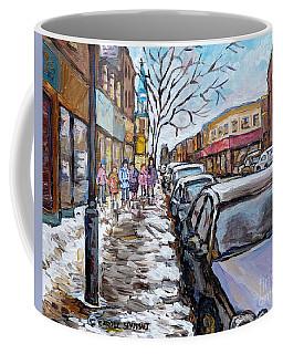 Winter In The City After Church Snowy Street Rue Wellington Verdun     Quebec C Spandau Canadian Art Coffee Mug