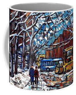 Winter In The City Montreal Verdun Snowscene Painting Snowplow And Bus Scene Canadian Art C Spandau Coffee Mug