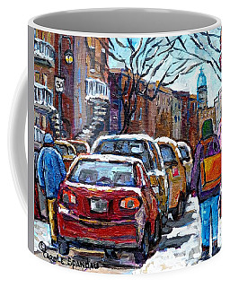 Winter In The City Shopping Rue Wellington Verdun Montreal Canadian Winter Scene Painting C Spandau  Coffee Mug