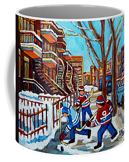 Winter In The City Street Hockey Winding Satircases Kids Shinny Hockey Game C Spandau Quebec Art     Coffee Mug