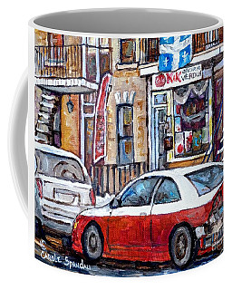 Winter In The City Verdun Storefront Staircase Painting Montreal Art C Spandau Canadian Artist       Coffee Mug