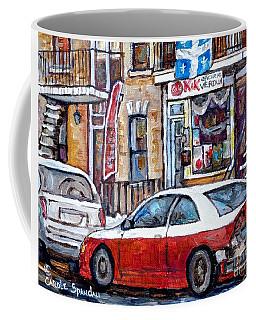 Winter In The City Verdun Storefront Staircase Painting Montreal Art C Spandau Canadian Artist       Coffee Mug