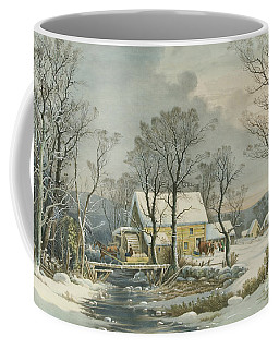 Winter In The Country, The Old Grist Mill, 1864  Coffee Mug