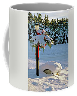 Winter Lamp Post In The Snow With Christmas Bough Coffee Mug