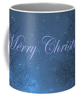 Winter Landscape Blue Christmas Card Coffee Mug