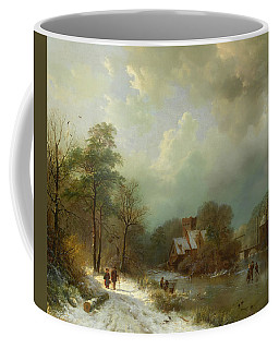Coffee Mug featuring the painting Winter Landscape - Holland by Barend Koekkoek
