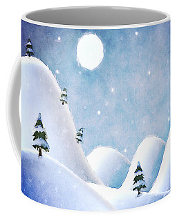 Winter Landscape Under Full Moon Coffee Mug