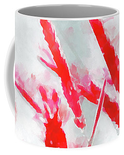 Coffee Mug featuring the painting Winter Moods 2 - Winterberry Red And Snowy White Nature Abstract by Menega Sabidussi