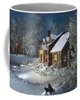 Coffee Mug featuring the digital art Winter Night by Mary Almond