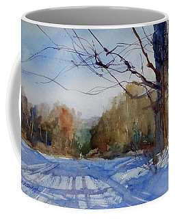 Coffee Mug featuring the painting Winter On White Road by Sandra Strohschein