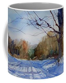 Winter On White Road Coffee Mug