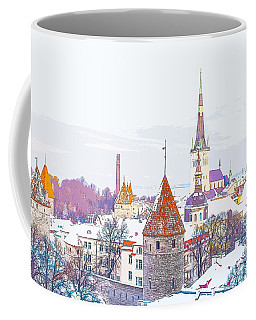 Winter Skyline Of Tallinn Estonia Coffee Mug