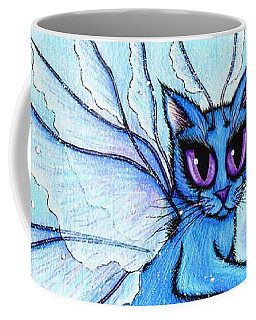 Coffee Mug featuring the painting Winter Snowflake Fairy Cat by Carrie Hawks