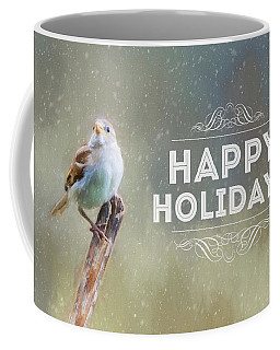 Winter Sparrow Holiday Card Coffee Mug