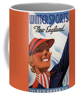 Winter Sports New England - The New Haven Rail Road - Retro Travel Poster - Vintage Poster Coffee Mug